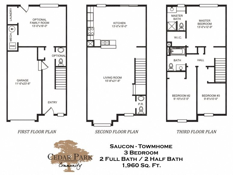 Three Bedroom Townhome Floor Plan 5