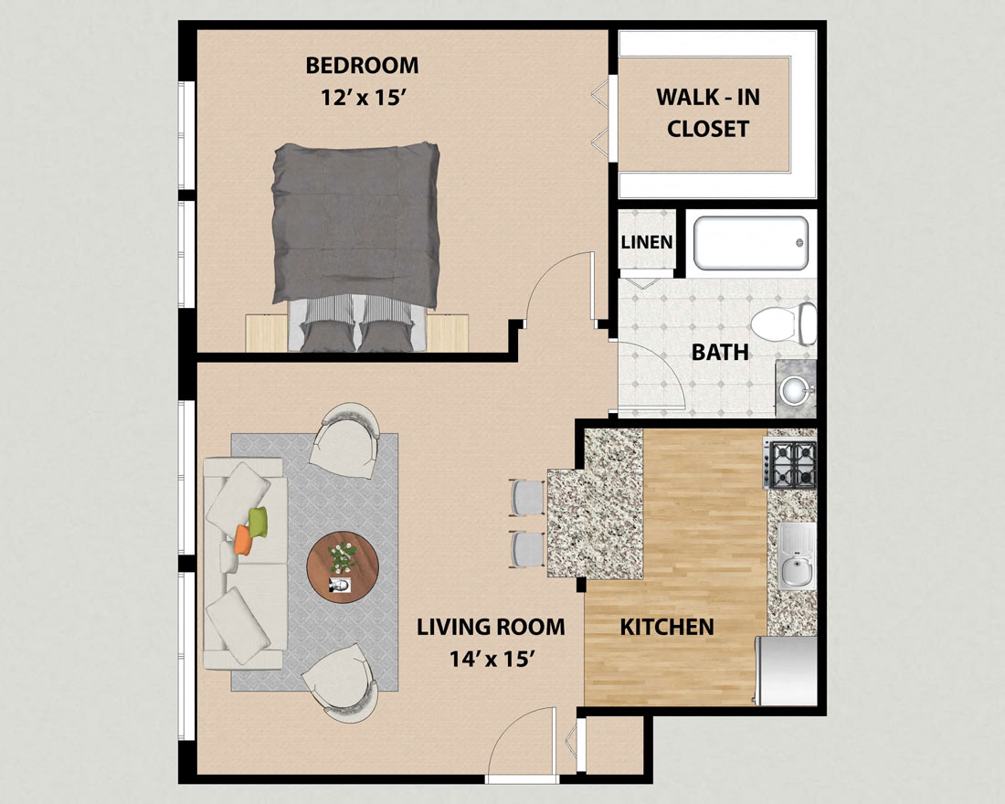 One Bedroom One Bathroom Floor Plan At Pine Ridge