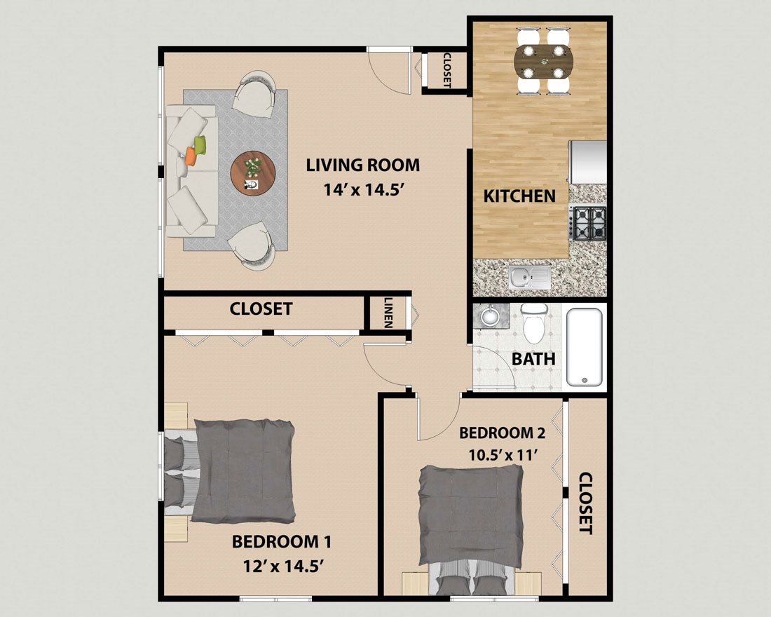 Two Bedroom One Bathroom Floor Plan at Pine Ridge