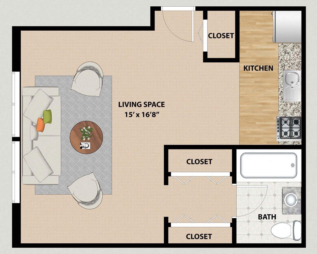 Studio Floor Plan at Pine Ridge