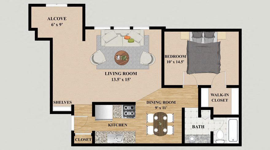One Bedroom One Bathroom Alcove Floor Plan at Kensington Pointe