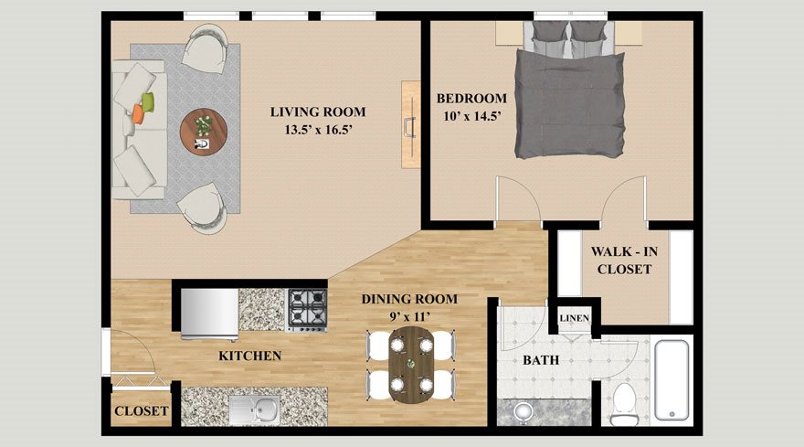 One Bedroom One Bathroom Floor Plan at Kensington Pointe