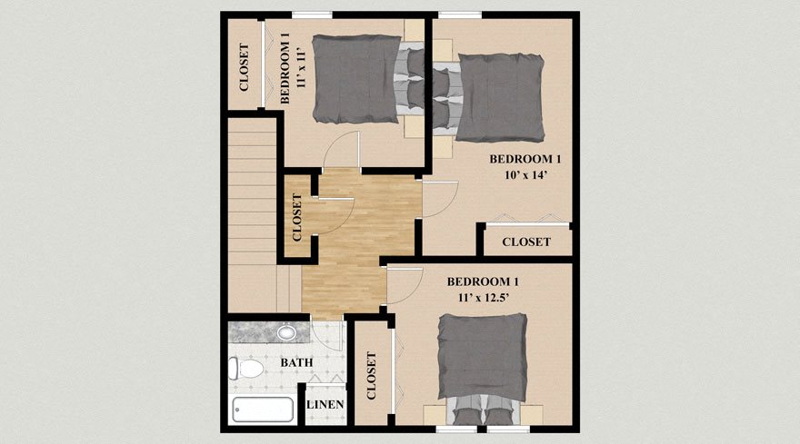 Three Bedroom Two Bathroom Townhouse Floor Plan at Kensington Pointe