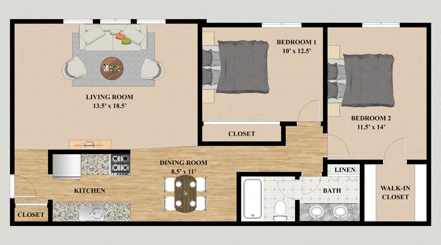 Two Bedroom One Bathroom Floor Plan at Kensington Pointe