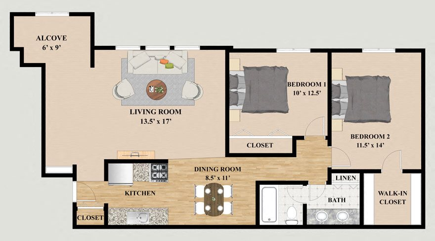 Two Bedroom One Bathroom Alcove Floor Plan at Kensington Pointe