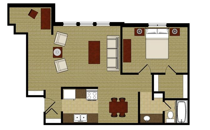 One Bed One Bath Alcove Floor plan at Kensington Pointe, Madison, WI