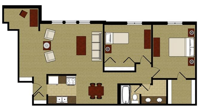 Two Bed Two Bath Floor Plan at Kensington Pointe, Madison, Wisconsin