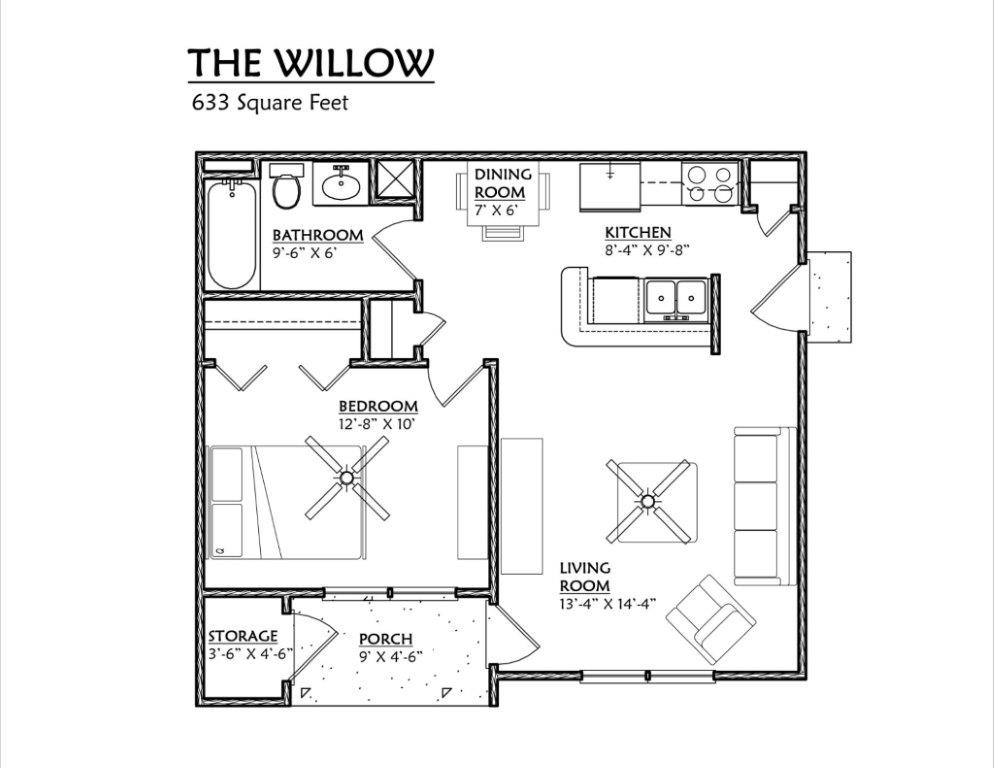 Cypress Pointe Apartments In Tallahassee, FL 32309 One Bedroom Floor Plan