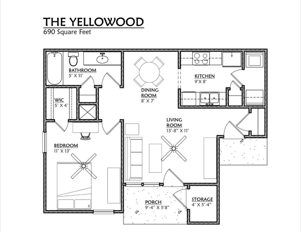 Cypress Pointe Apartments In Tallahassee Florida 32309 One Bedroom Floor  Plan