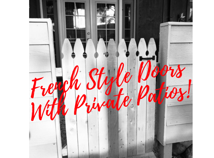 French style doors with private patios.