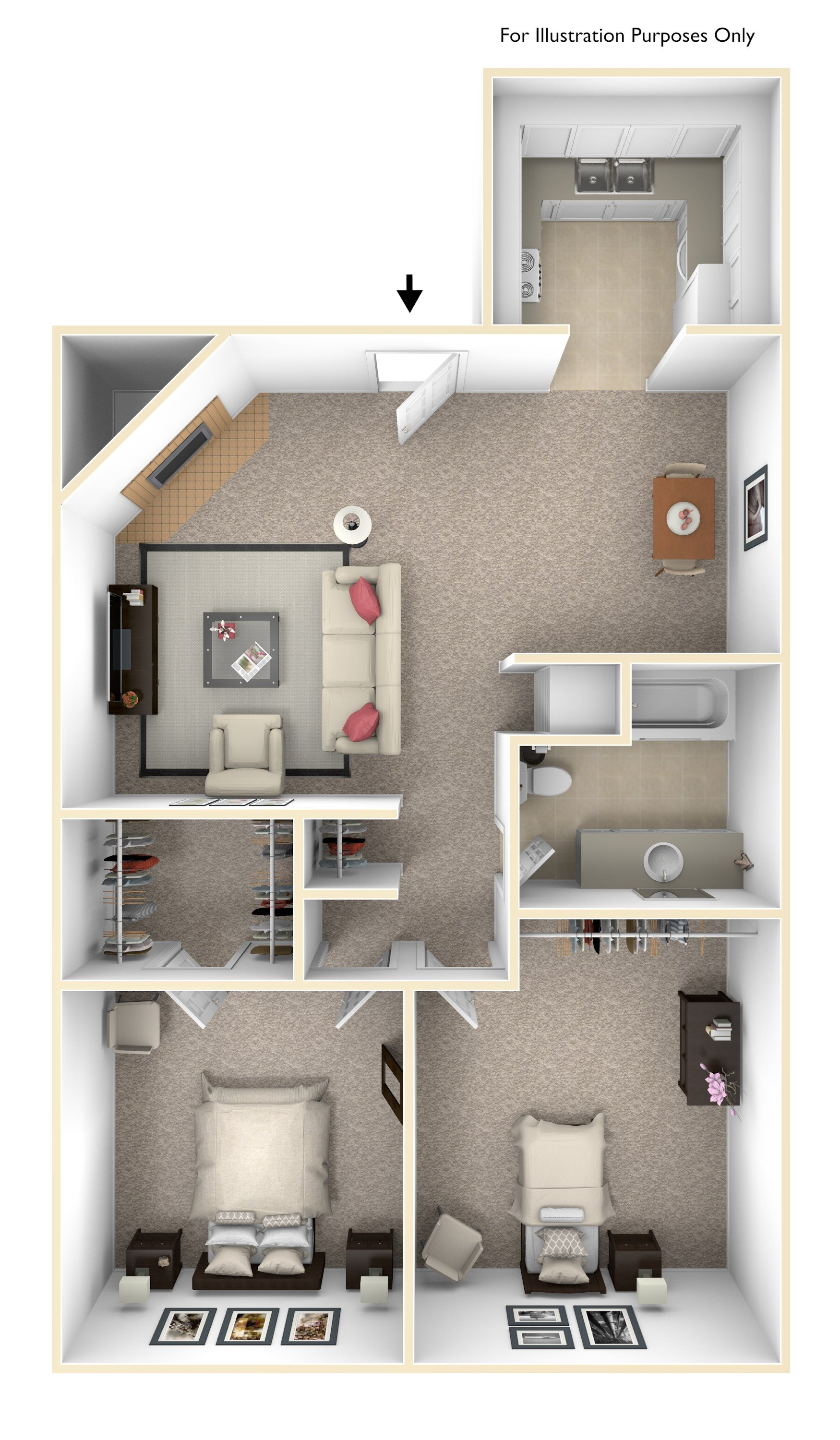 2 Bedroom/1 Bathroom