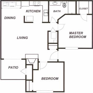 Plantations at Killearn Tallahassee Florida 32309 Addison Floor Plan 1 bedroom 1 bathroom