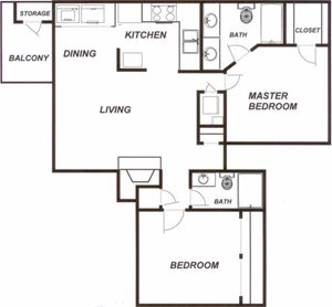 Plantations at Killearn Tallahassee Florida 32309 Bradford Floor Plan 2 bedroom 2 bathroom