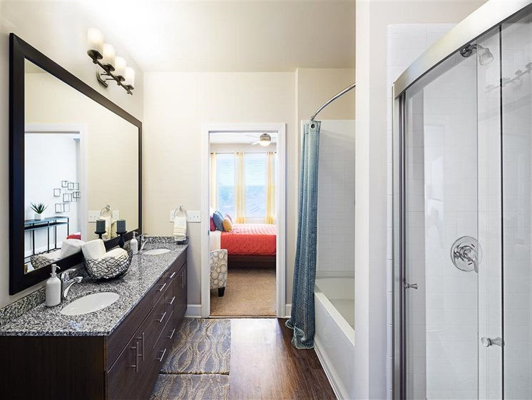 Designer Bathroom Suites at The Edison Lofts Apartments, Raleigh, North Carolina