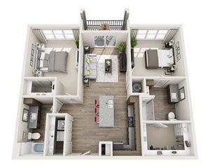 2 Bedroom 2 Bath B2a