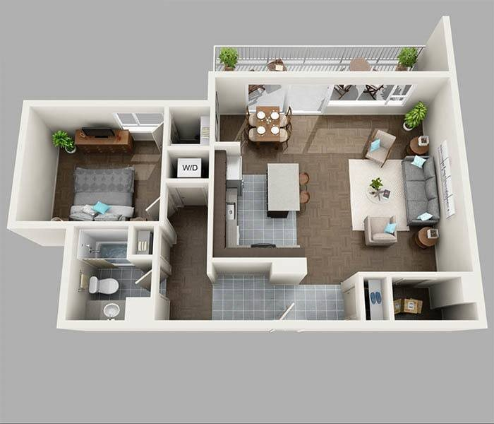 One Bedroom Floor Plan at Panorama Apartments Apartments For Rent in Seattle, Washington