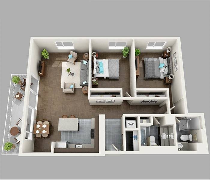 Two Bedroom North Floor Plan at Panorama Apartments Apartments For Rent in Seattle, Washington