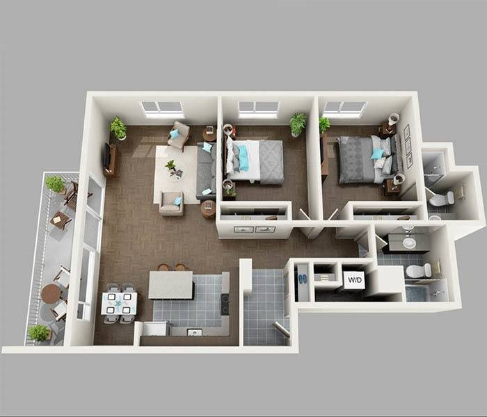 Two Bedroom South Floor Plan at Panorama Apartments Apartments For Rent in Seattle, Washington