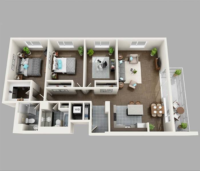 Three Bedroom Floor Plan at Panorama Apartments Apartments For Rent in Seattle, Washington