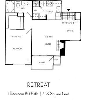 Indigo Creek Apartment Homes - 1 Bedroom 1 Bath Apartment