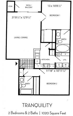Indigo Creek Apartment Homes - 2 Bedroom 2 Bath Apartment