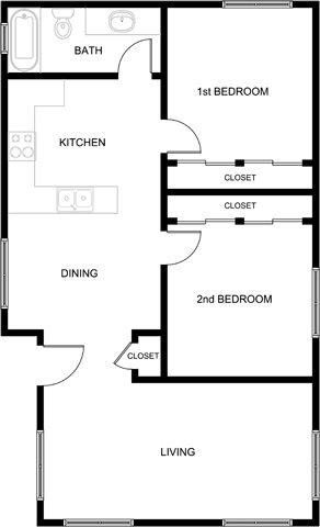 2 Bedroom 1 Bath Apartment Floor Plan 4