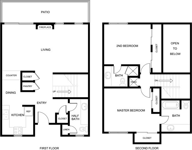 2 Bedroom 2 Bath Townhome Floor Plan 5