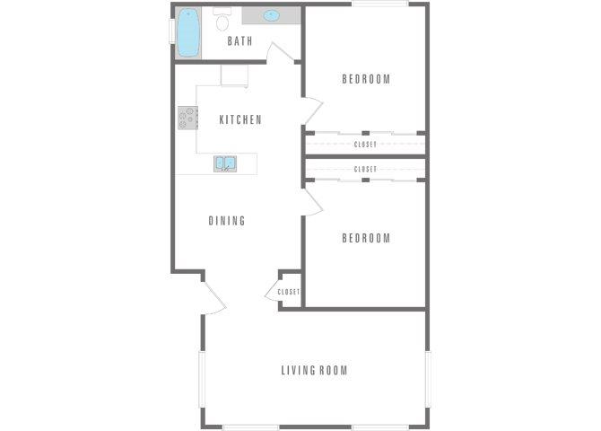 2 Bedroom 1 Bath Apartment Floor Plan 4
