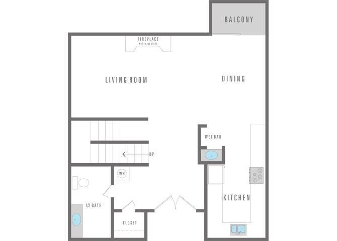 2 Bedroom 2 Bath Townhome Floor Plan 5