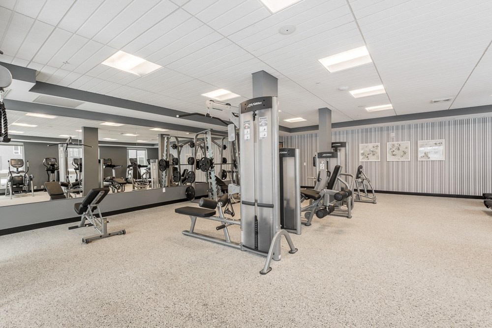 View of fitness center with weightlifting machines and mirrors at The Preserve apartments in Bloomington