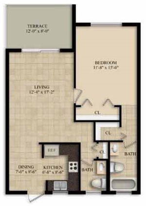 1 Bedroom 1 1/2 Bath