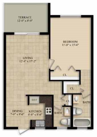 1 Bedroom 1 1/2 Bath Floor Plan 3