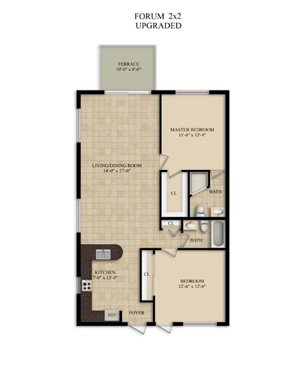 2 Bedroom 2 Bath Large