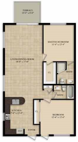 2 Bedroom 2 Bath Floor Plan 4