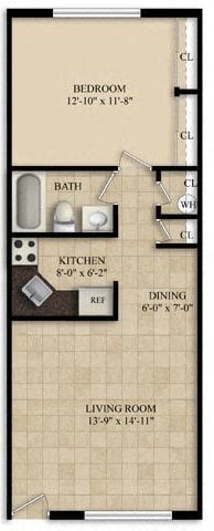 1 Bedroom 1 Bath Large