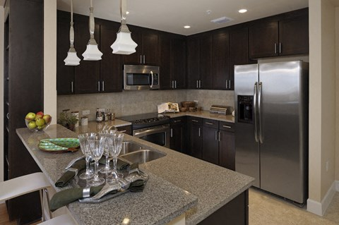 Updated kitchen with stainless steel appliances in The Flats at Tioga Town Center apartments