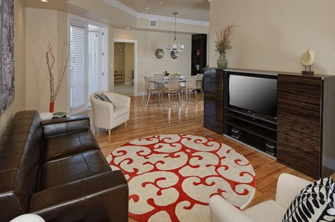 Furnished living room at the Flats at Tioga Town Center