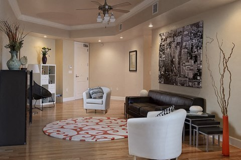 Spacious furnished living room at The Flats at Tioga Town Center
