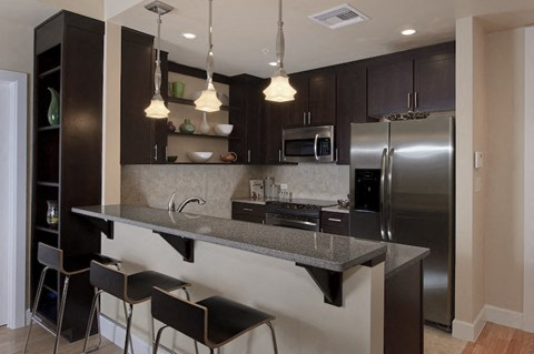 Updated kitchen with stainless steel appliances and bar stools in Newberry, FL apartment