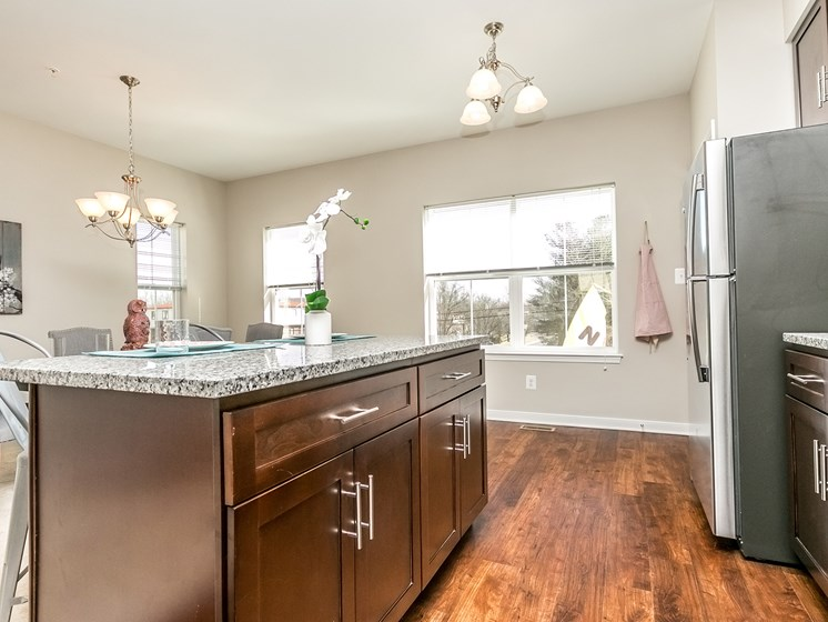Gourmet Kitchen with Breakfast Bar and Pantry at Townes at Pine Orchard, Ellicott City, 21042