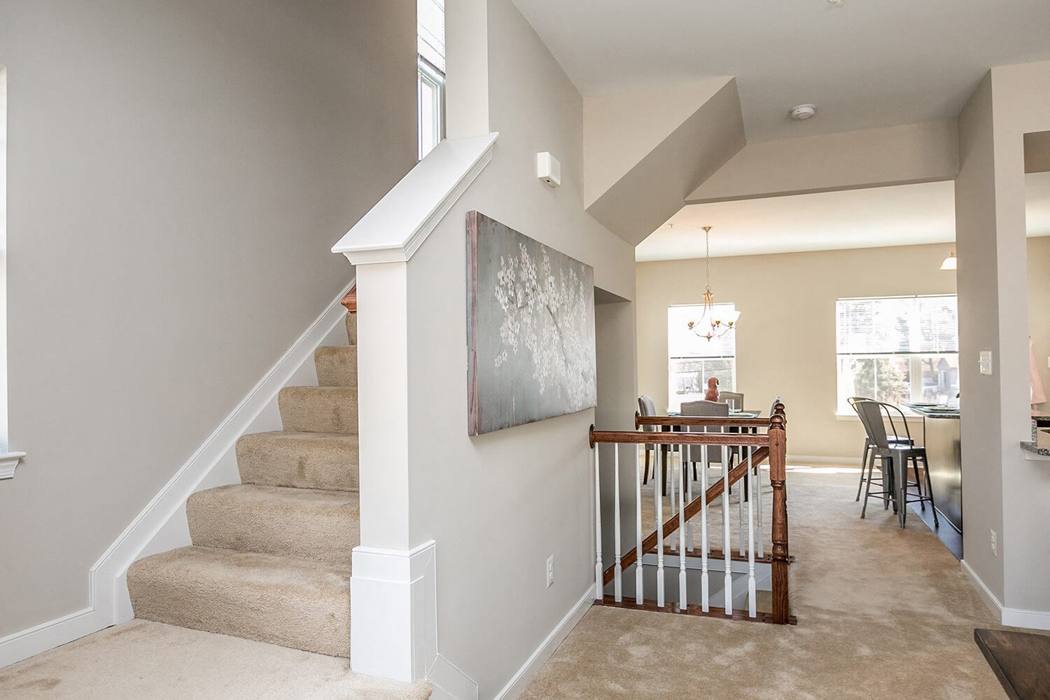 Plush carpet in living area and bedrooms at Townes at Pine Orchard, Ellicott City, Maryland
