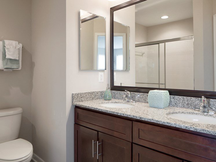 Designer Granite Countertops in all Bathrooms at Townes at Pine Orchard, Maryland