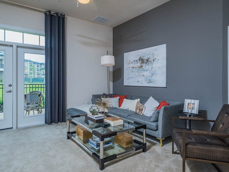 Spacious Living Room With Private Balcony at Abberly Waterstone Apartment Homes, Virginia, 22554