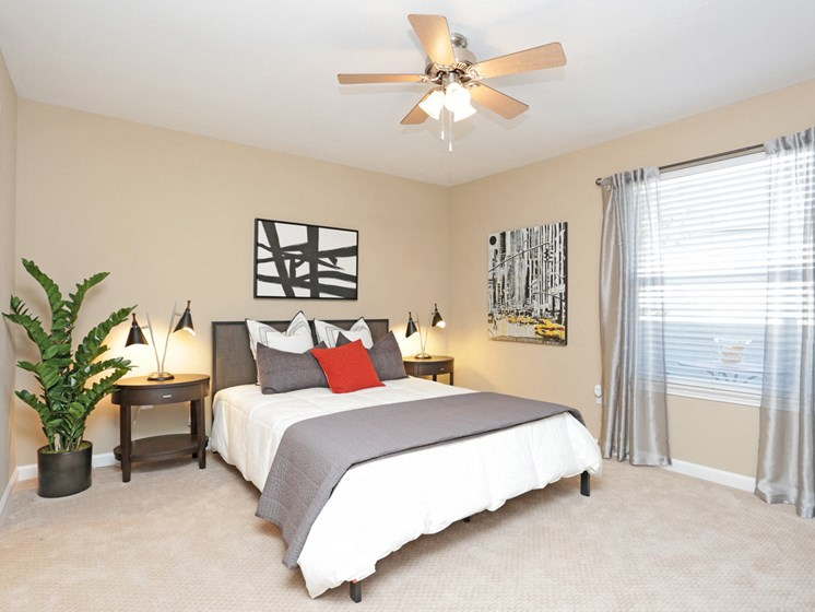 Spacious bedroom with ceiling fan and plush carpeting.