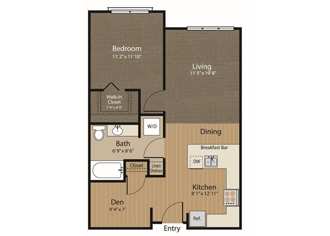 1 Bedroom w-Den Floor Plan 3