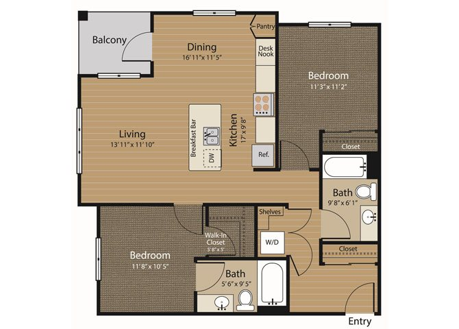 2 Bedroom 2 Bath Floor Plan 5