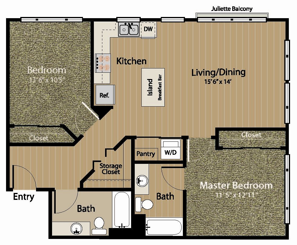 2 Bedrooms Floor Plan 3