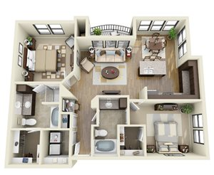 Cobalt floor plan | Stone Pointe Apartments for rent in Woodbridge, Virginia