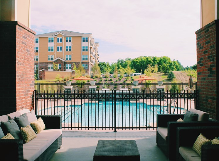 Patio view of pool | Stone Pointe Apartments for rent in Woodbridge, Virginia