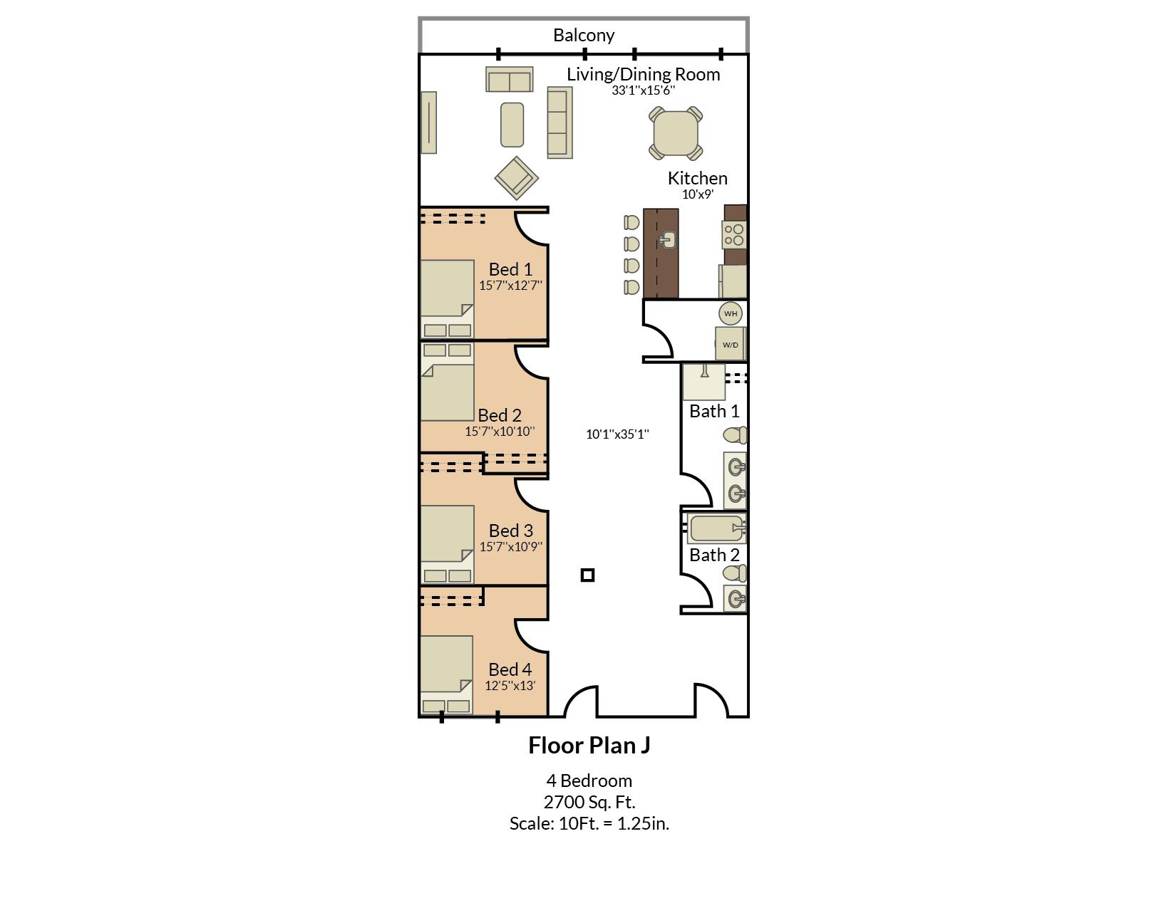 Four Bedroom Floor Plan 1
